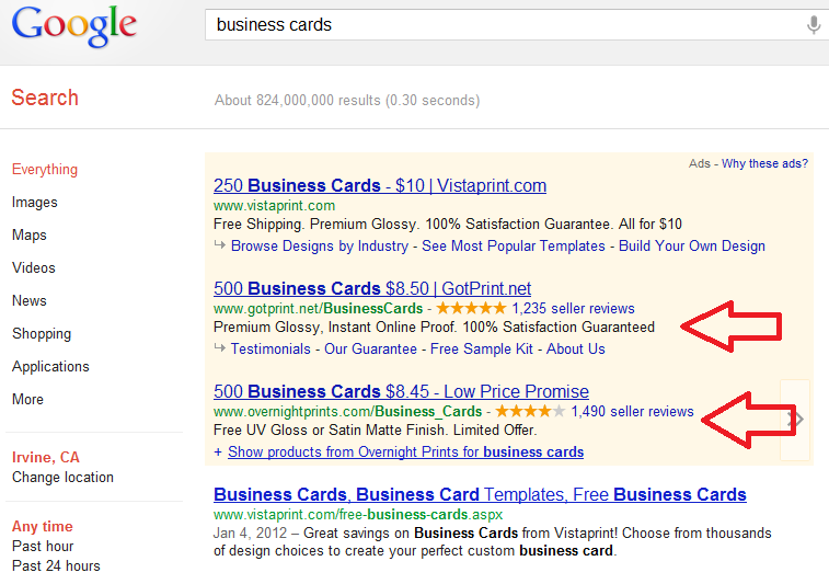 "Search google for ""Business Cards"" to find the best deals in the ads"